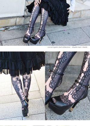 アビエタージュ【abilletage】Corset tights Double lace black コルセットタイツ ダブルレース ブラック