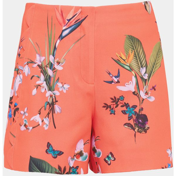 Ted Baker Tropical Oasis scallop detail shorts ($169) ❤ liked on Polyvore featuring shorts, print shorts, scalloped edge shorts, scallop hem shorts, mid rise shorts and zipper shorts