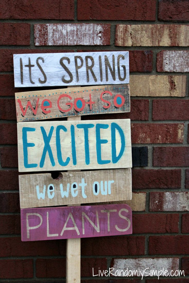 Its Spring We got so excited we wet our plants wooden yard sign made from pallet wood, spray paint and a garden stake! Less than $5 to make!