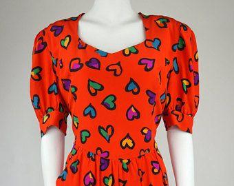 Escada by Margaretha Ley vintage silky dress heart's print -    Edit Listing  - Etsy