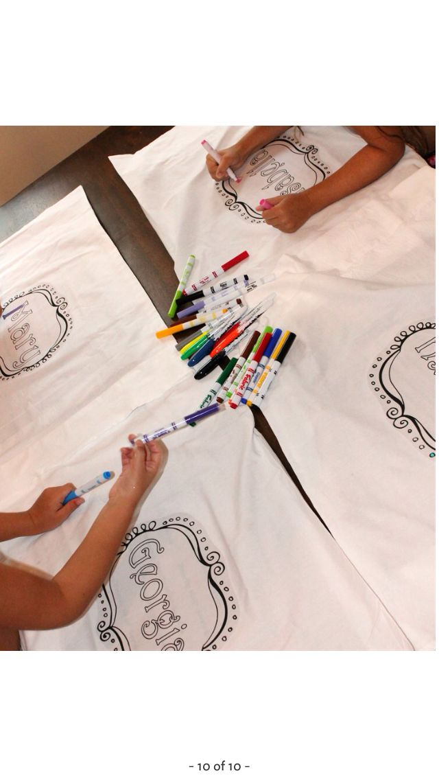 Fabric markers to color pillowcases for sleepover.what a cute party idea