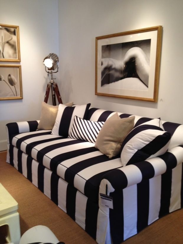 Black & White Striped Sofa <3 this one looks more loungy which is perfect for us!