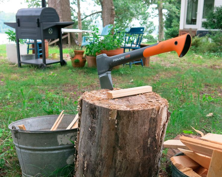 Feature your axe in your garden - they'll know where their bonfire firewood came from. www.fiskars.com