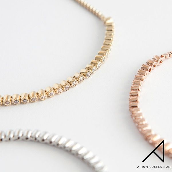 Treat yourself to something subtle and luxurious for everyday elegance. These Ria bracelets feature premium Cubic Zirconia set in a slender decorative bezel and can be stacked or worn alone for varying looks.  Available in rose gold, rhodium and gold.    #ariumcollection #goldplatedjewelry #bracelet #layeringjewellery