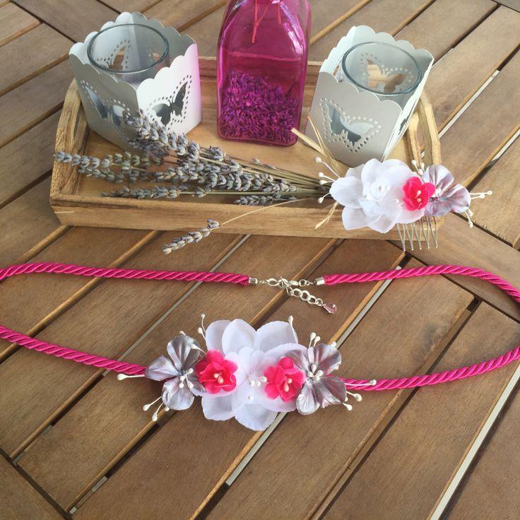 Peineta y cinturón de flores de tela y cordon de seda color fucsia, blanco y plata de IbelSaBuMasQTocados en Etsy https://www.etsy.com/es/listing/266638835/peineta-y-cinturon-de-flores-de-tela-y