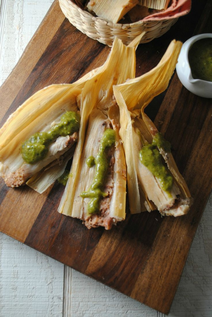 Bean Cheese and Potato Tamales with Roasted Poblano Salsa
