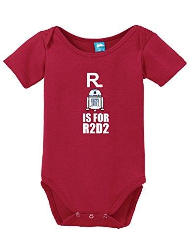 R is for R2 D2 Onesie Funny Bodysuit Baby Romper Red 0-3 Month, Infant Girl's