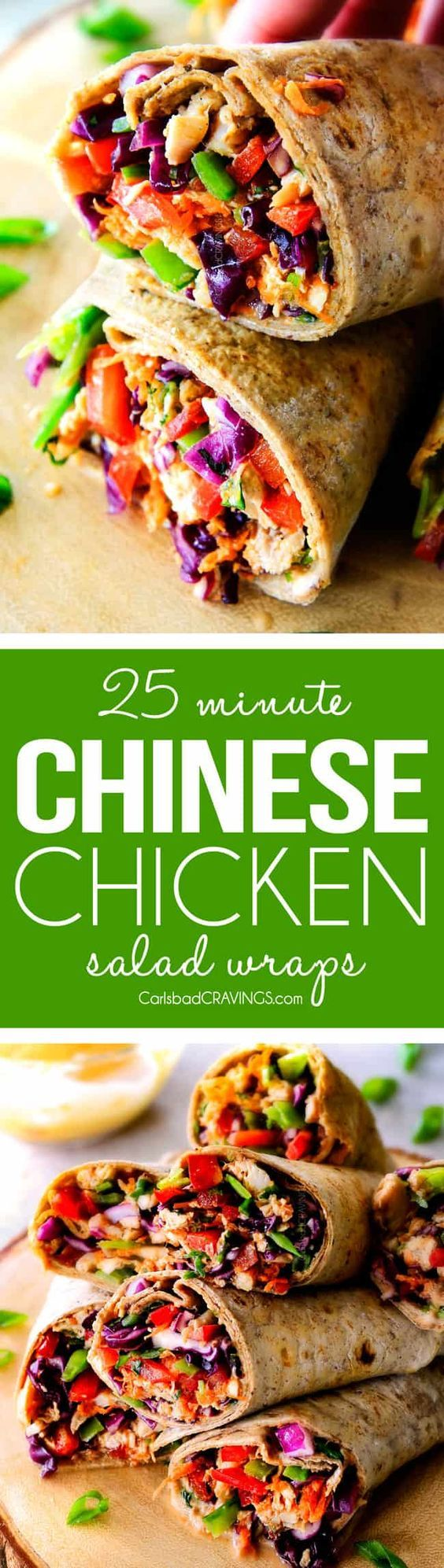 25 MINUTE fresh and crunchy Chinese Chicken Salad Wraps are your favorite Chinese salad in easy, satisfying, healthy portable wrap form!  The vibrant dressing is amazing and the addition of Sweet Chili Sauce takes these to a whole new level!   I love having this filling on hand!  via @carlsbadcraving