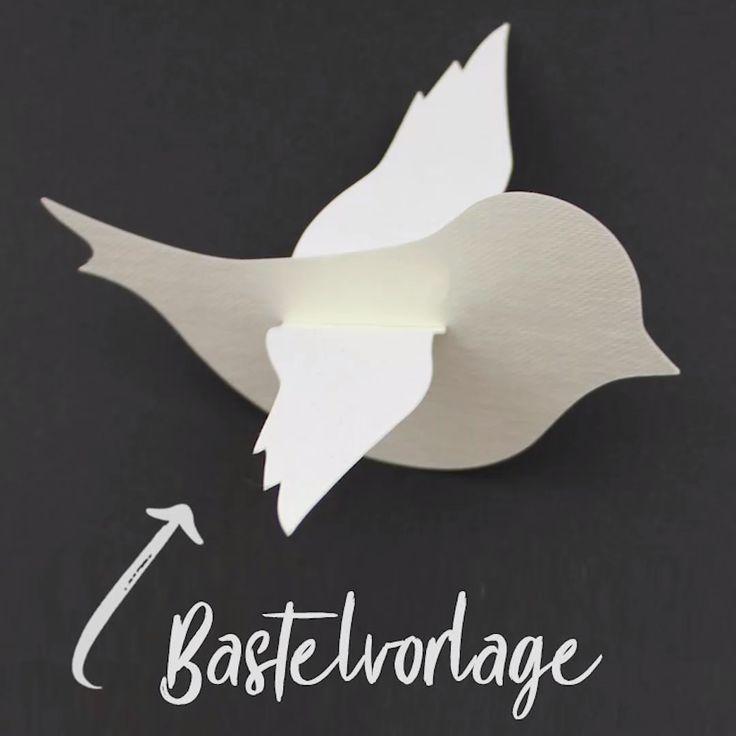 Vögelchen aus Papier basteln – mit Bastelvorlage & Plotterfreebie