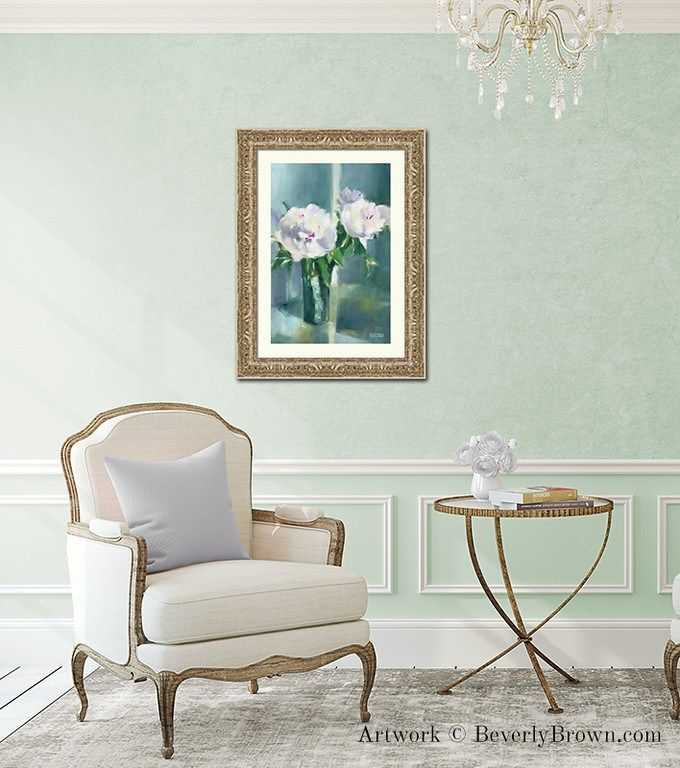 Elegant chic mint green living room with white peony art print in a gold frame by Beverly Brown. Framed art and canvas prints in multiple sizes and framing options for sale at www.beverlybrown.com