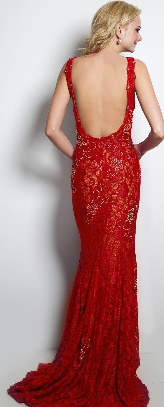 red back prom dress
