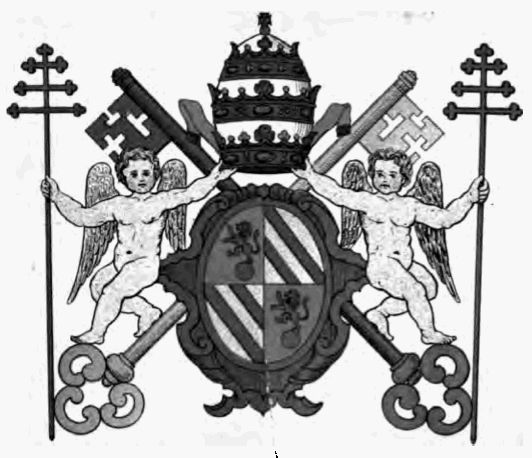 Rendition of the coat of arms of Pope Pius IX with supporters: two angels, each holding a papal cross.