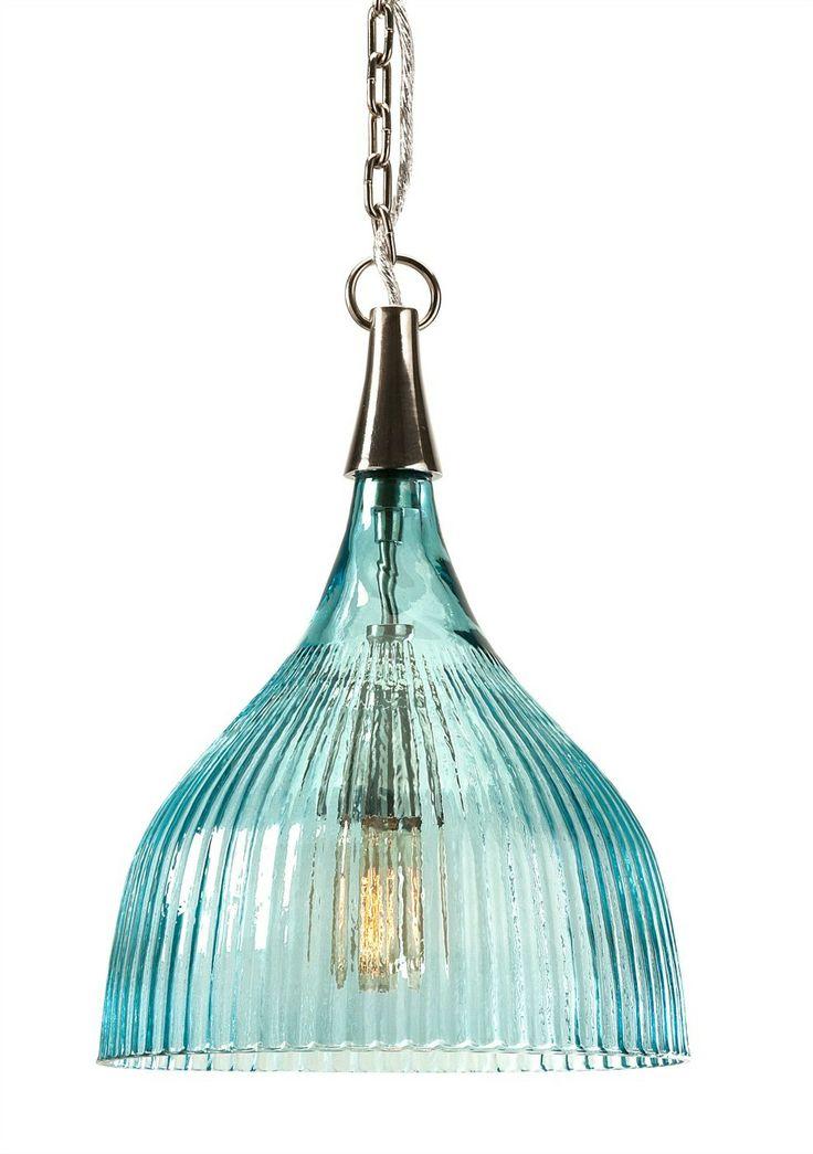 Sidni Teal Luster Ribbed Pendant Light - Coastal Lighting