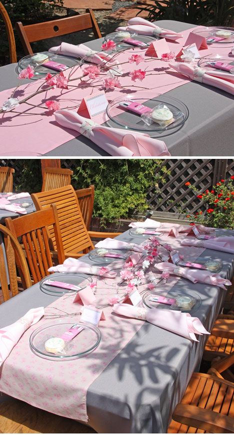 Pink & grey cherry blossom baby shower.  Very sweet!!! And would match her room : )