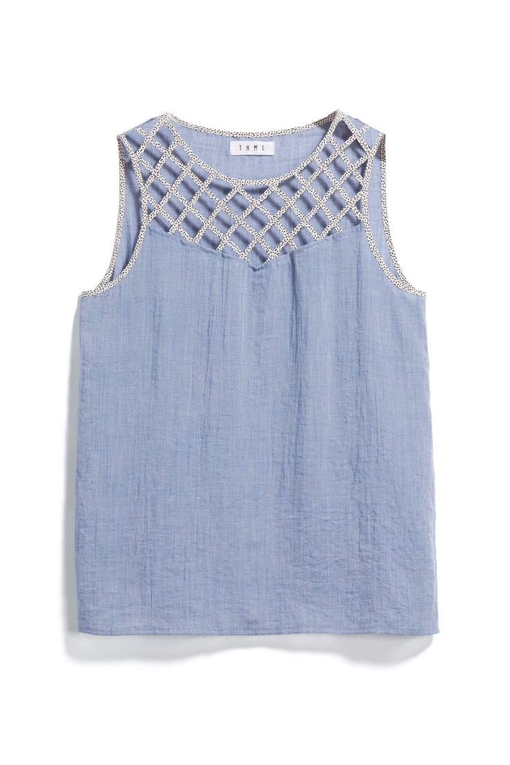 THML Blue Top with Criss Cross Neckline Detail - Stitch Fix Style Quiz