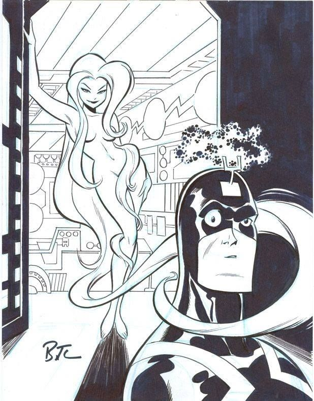 Medusa and Black Bolt by Bruce Timm *