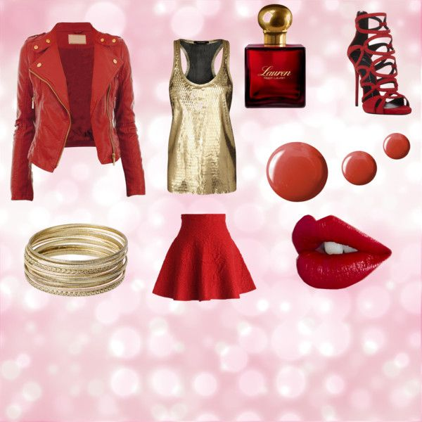 Red and Gold Spring Outfit by the-aria-soto on Polyvore featuring Isabel Marant, Chicwish, Giuseppe Zanotti, Steve Madden, Ralph Lauren, Topshop and cherryred