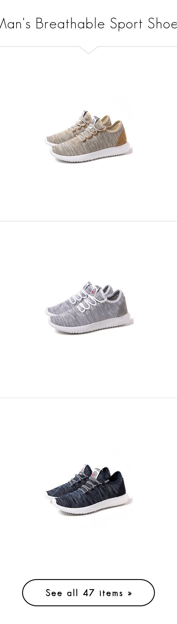 Man's Breathable Sport Shoes by lovenewchic on Polyvore featuring sport, sneakers, man, newchic, men's fashion, men's shoes, men's sneakers, khaki, mens summer shoes and mens mesh sneakers