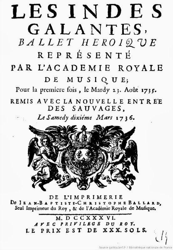 """Per Musiche d'epoca in luoghi storici: proiezione dell'Opéra """"Les Indes Galantes"""" di J.Ph. Rameau alla Biblioteca Universitaria.  Continua l'omaggio al grande compositore francese per i 250 anni dalla morte.  #SpettacoliCagliari"""