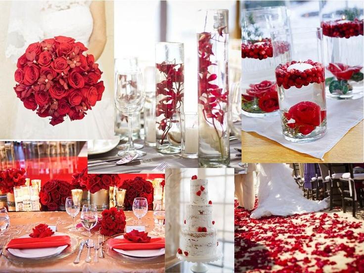 Red wedding pallette- Love the centerpiece ideas!