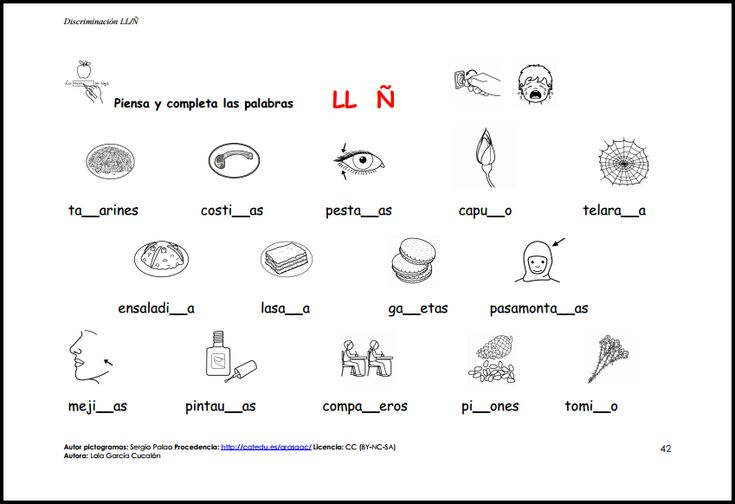 MATERIALES - Discriminación LL-Ñ  Material para trabajar la discriminación de ambos fonemas y diferentes actividades para su afianzamiento.  http://arasaac.org/materiales.php?id_material=1149
