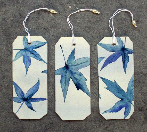 3 Bookmarks Originals watercolors Hojas azules II by SilviaCairol, €12.00