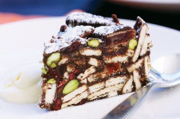 Turkish delight & chocolate fridge cake (slice). This looks amazing, and so easy!