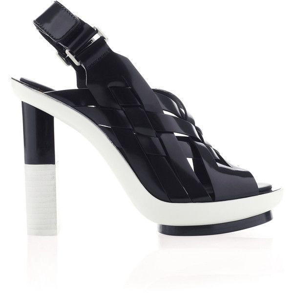 Black And White Woven Runway Shoe | Moda Operandi ($1,815) ❤ liked on Polyvore featuring shoes, sandals, slingback shoes, sling back sandals, open toe shoes, black and white platform shoes and open toe sandals