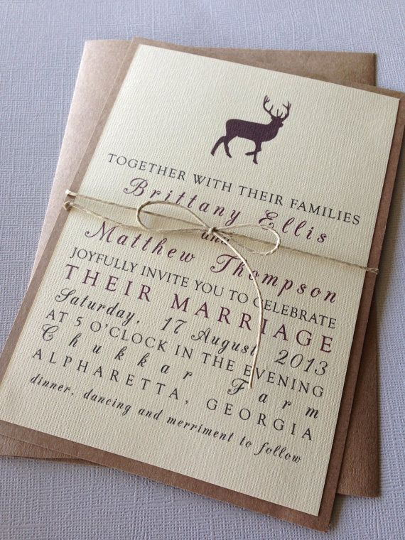 Rustic Woodland Wedding Invitations on Etsy, $2.00