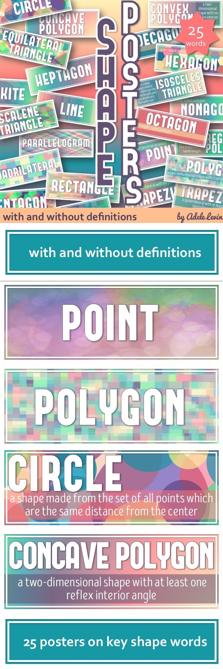 Bright and colourful posters for your Math Classroom on Shape words