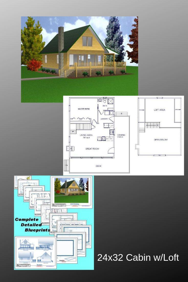 Easy Cabin Designs 24x32 Cabin w Loft Plans  Package