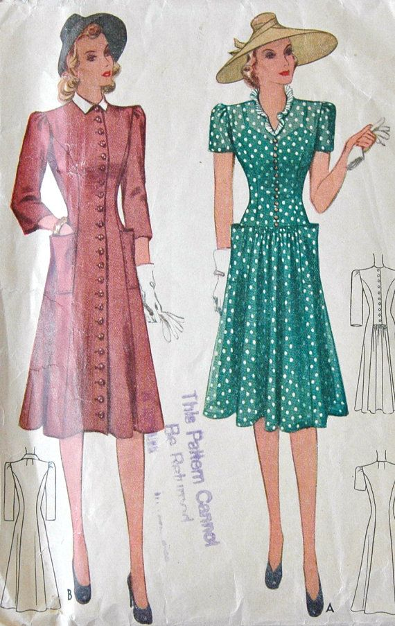 1940's McCall Dress Pattern - Bust 32