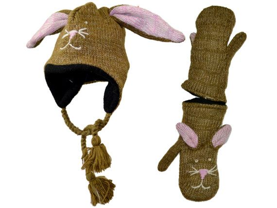 Brown bunny rabbit animal knit hat with mittens by HatsMittensEtc