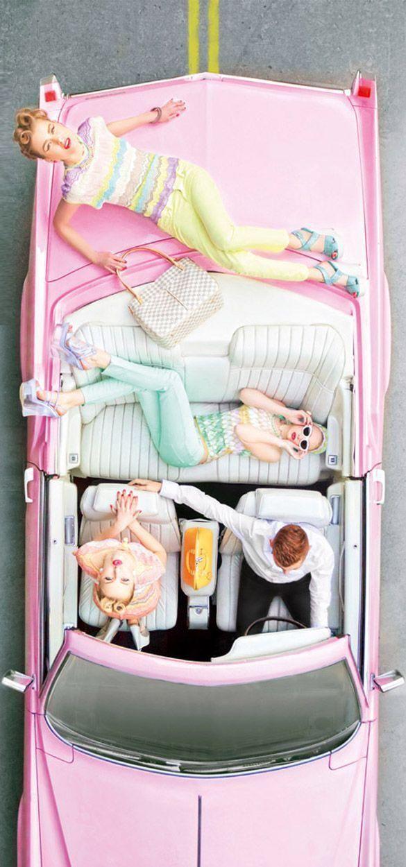 Années folles, Chic & Pastel ! On aime le côté So fresh !!! #auto #fille #rose