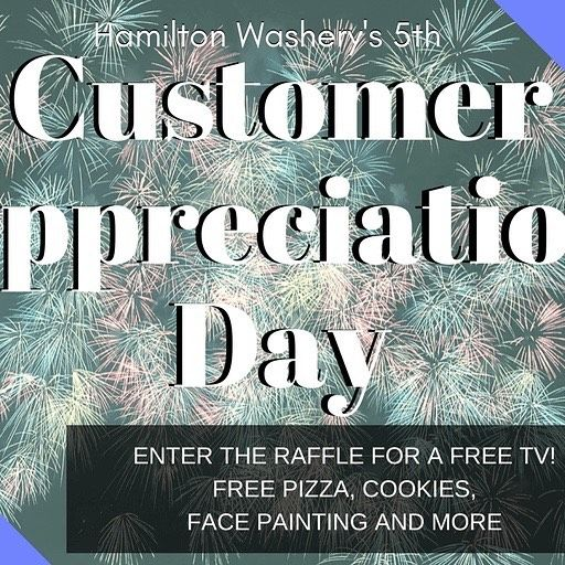 Hamilton Washery is having their 15th Customer Appreciation Day on Saturday April 1st from 11am-1pm. Grab your comforters and blankets and head on over and throw a load or two in. Who knows you may just win a FREE TV! And if you don't have time to do the washing and folding yourself no worries....they have a great wash and fold service too!!! #laundromat #washandfoldservice #customerappreciation #kidfriendly