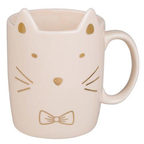 Mug chat en faïence rose