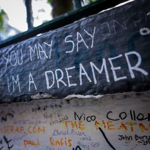 "Beatles Locations: Graffiti at Abbey Road. Photo by nan palmero ""#Cheapflights2013"