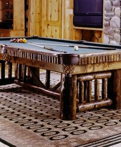 Billiard, shuffleboard, foosball, air hockey, poker and game tables. Rustic pool cue racks, dart boards, game table chairs, pub tables, bar stools, accessories.