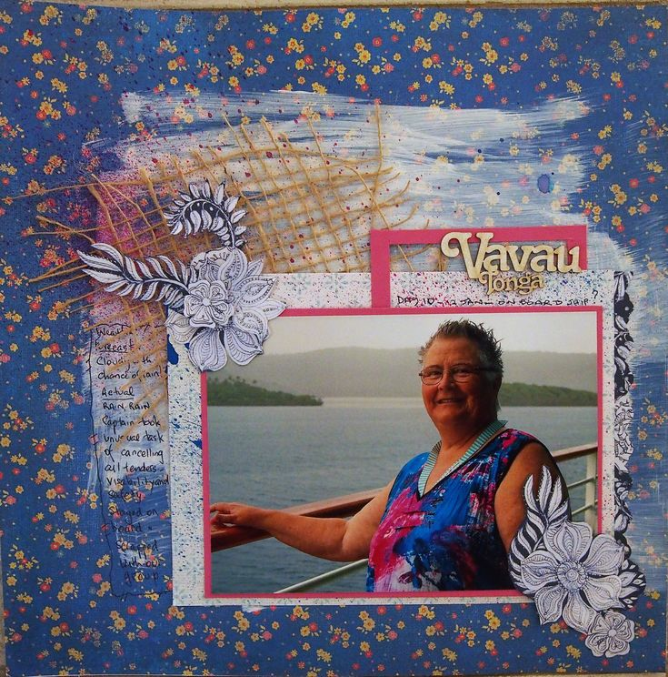 Layout uses gesso to tone down the background, Dylusion Inks, fussy cut embellishment, hessian and wooden label.  Photo taken onboard Radiance of the Seas in January.