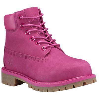 Timberland Youth 6-Inch Premium Waterproof Boots Dark Pink Nubuck