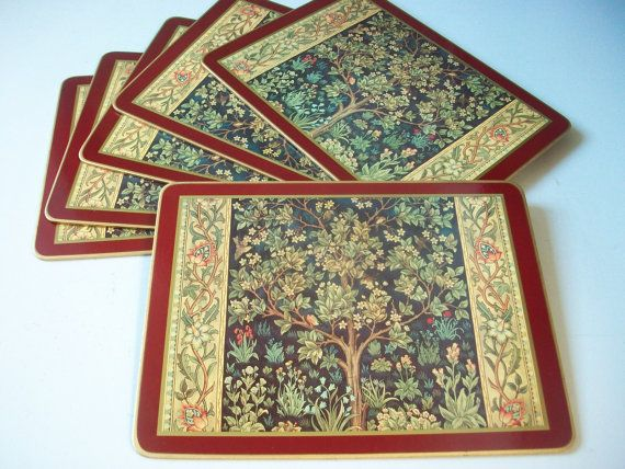 Vintage Cloverleaf laminated placemats Tapestry floral and tree pattern Set of 6 rectangle tablemats Made of laminated cardboard with cork backing