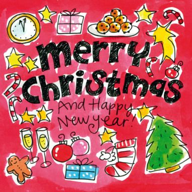Kerstkaart vol met kerstattributen- Greetz ~ I could not erase this lovely Christmas Greeting in a language that I cannot read or speak!  :)