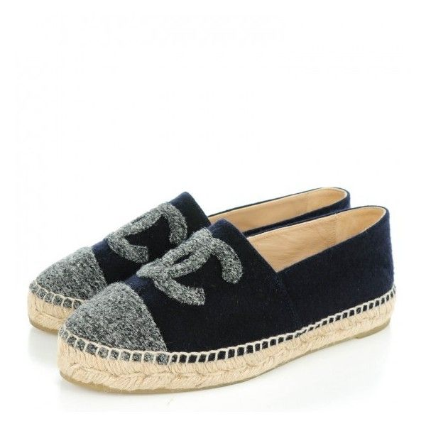 CHANEL Velvet Tweed CC Espadrilles 37 Navy Grey ❤ liked on Polyvore featuring shoes, sandals, grey espadrilles, velvet sandals, navy blue shoes, stitch shoes and grey sandals