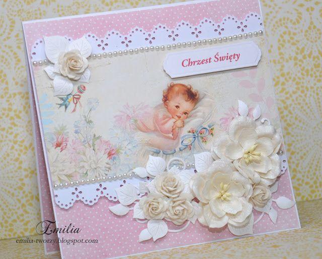 Na chrzest święty dla dziewczynki/Pamiątka Chrztu Świętego/Christening card