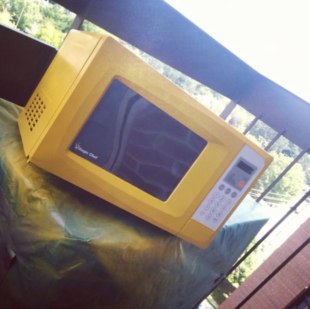 """""""When you hate your boring microwave, hit it with a can of yellow spray paint for an instant eye-popping upgrade.""""Makeovers using spray paint on #Instagram #repurpose"""