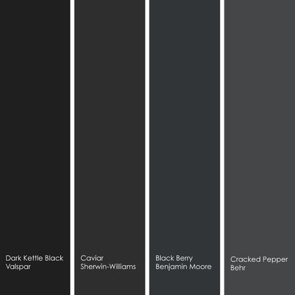4 enticing black hues to try (left to right):    1. Dark Kettle Black 4011-2, from Valspar  2. Caviar SW6990, from Sherwin-Williams  3. Black Berry 2119-20, from Benjamin Moore.  4. Cracked Pepper UL260-1, from Behr