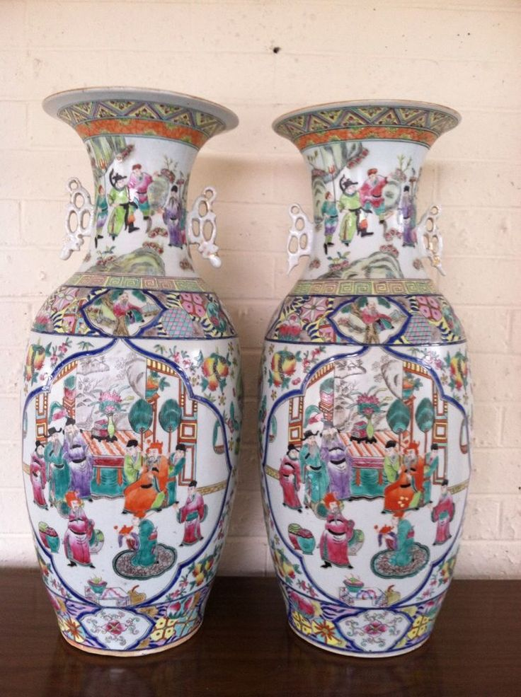 Large Pair Antique Chinese Famille Rose Porcelain Floor