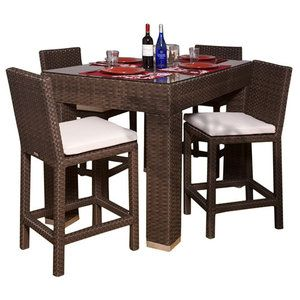 International Home Miami Atlantic 5 Piece Bar Height Dining Set Outdoor Garden Furniturepatio