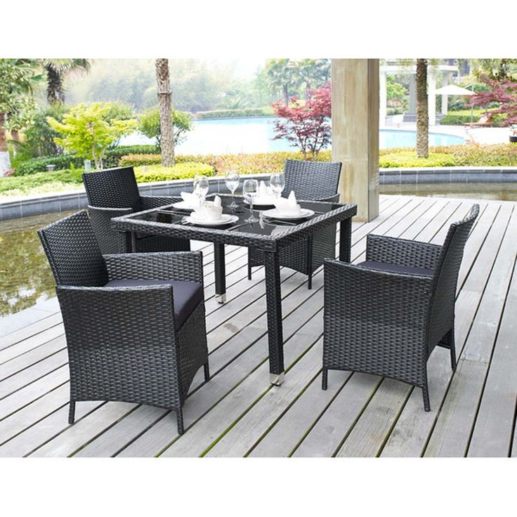 """5 Piece Outdoor Patio Dining Set with Cushions - UV Weather Resistant Rattan Wicker Heavy Duty Steel Powder Coated Furniture - Rectangular Tempered Table with Umbrella Hole - Seat for 4 - Black Finish. Looking for modern, contemporary, elegant style to add in your garden, lawn and backyard or even Indoor? Add this HIGH QUALITY 5 Piece Outdoor Patio Resin Wicker Rattan Dining Set with Removable DARK GREY Cushions, Black Finish. SOLD Only by SERVING YOUR SUCCESS!!!..Go """"Add to Cart"""" this…"""