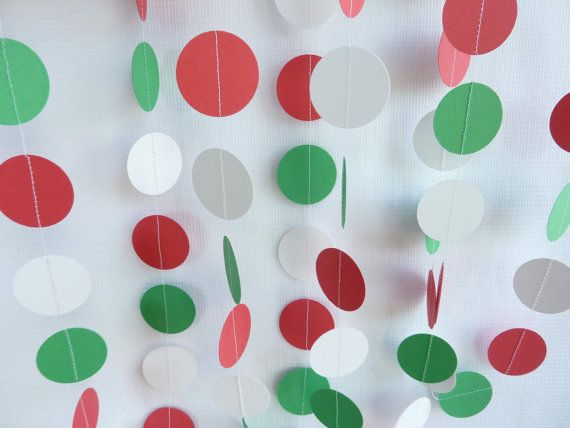 Christmas Garland, Red, White and Green, Party Decorations, 10'